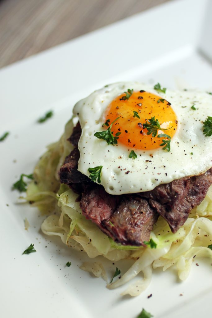 Steak and Eggs with Sautéed Cabbage Recipe