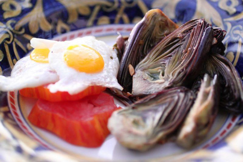 Fried Quail Eggs with Baby Artichokes Recipe