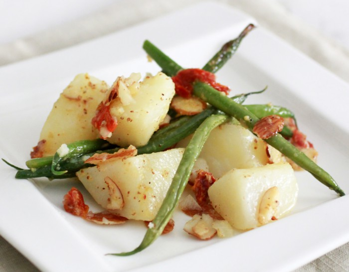 Roasted Potatoes with Green Beans and Tangy Sun Dried Tomato Dressing Recipe