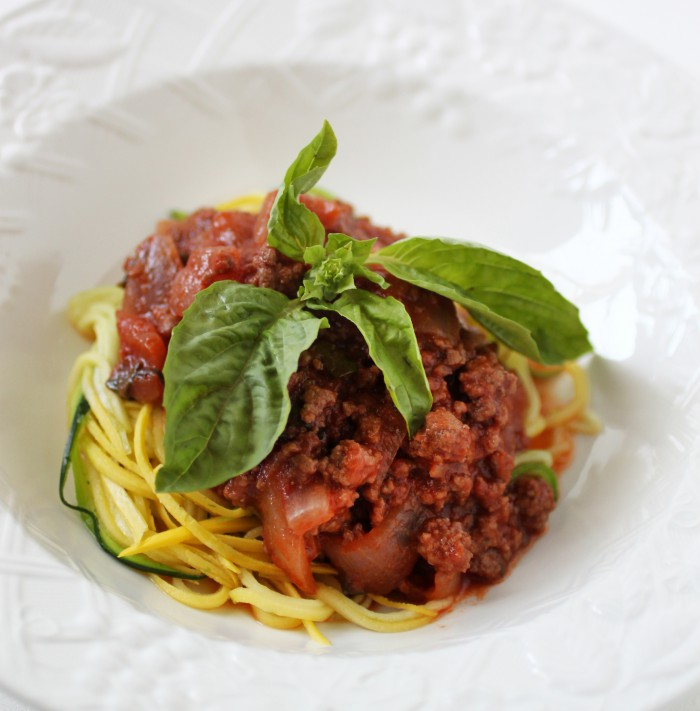 paleo spaghetti with red wine marinara sauce