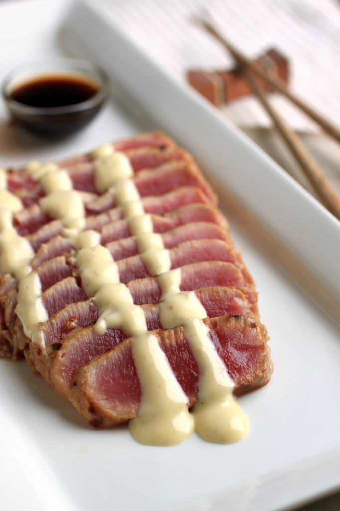Ahi tuna with wasabi glaze