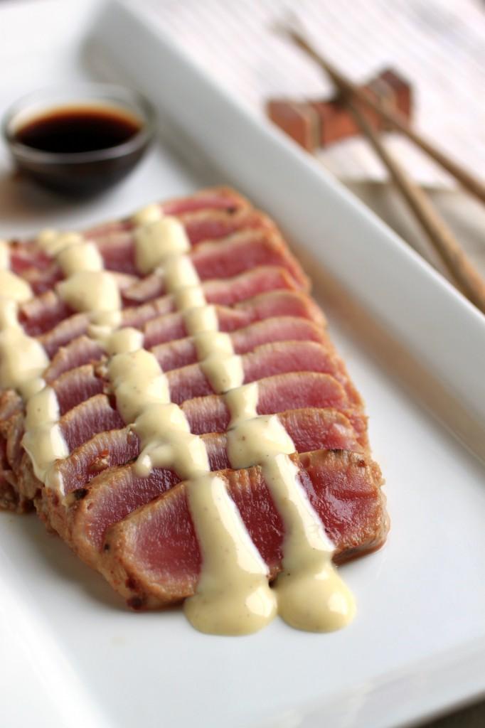 Ahi tuna with wasabi glaze