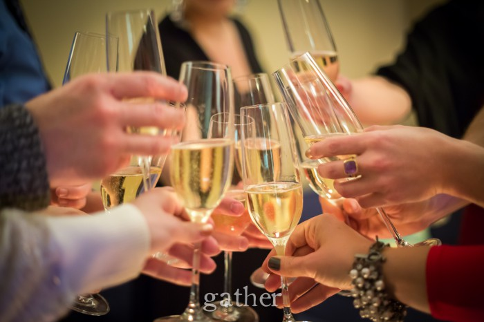 Champagne Toast, large group