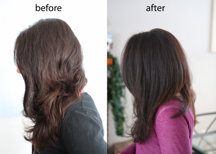 before and after Henna - Caca Noir for Dark Brown Hair