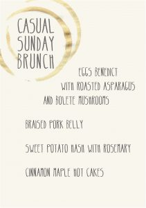Gather Menu - Casual Sunday brunch