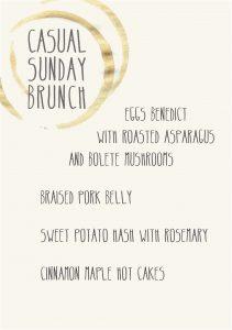 Gather Menu - Casual Sunday brunch