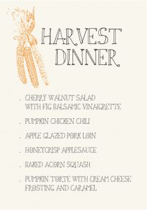 Gather Menu - harvest dinner