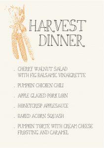 Gather Menu - harvest dinner