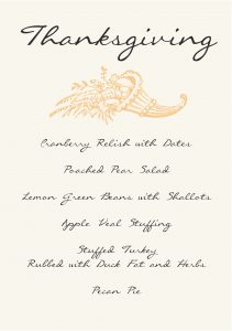 Gather Menu - Thanksgiving Feast