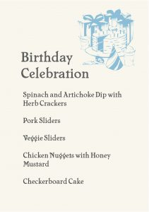 Gather Menu - Birthday Celebration