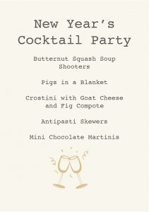 GATHER Menu - Cocktail Party
