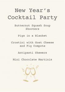 GATHER Menu - Cocktail Party