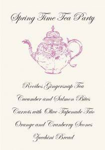 Gather Menu - Tea Party