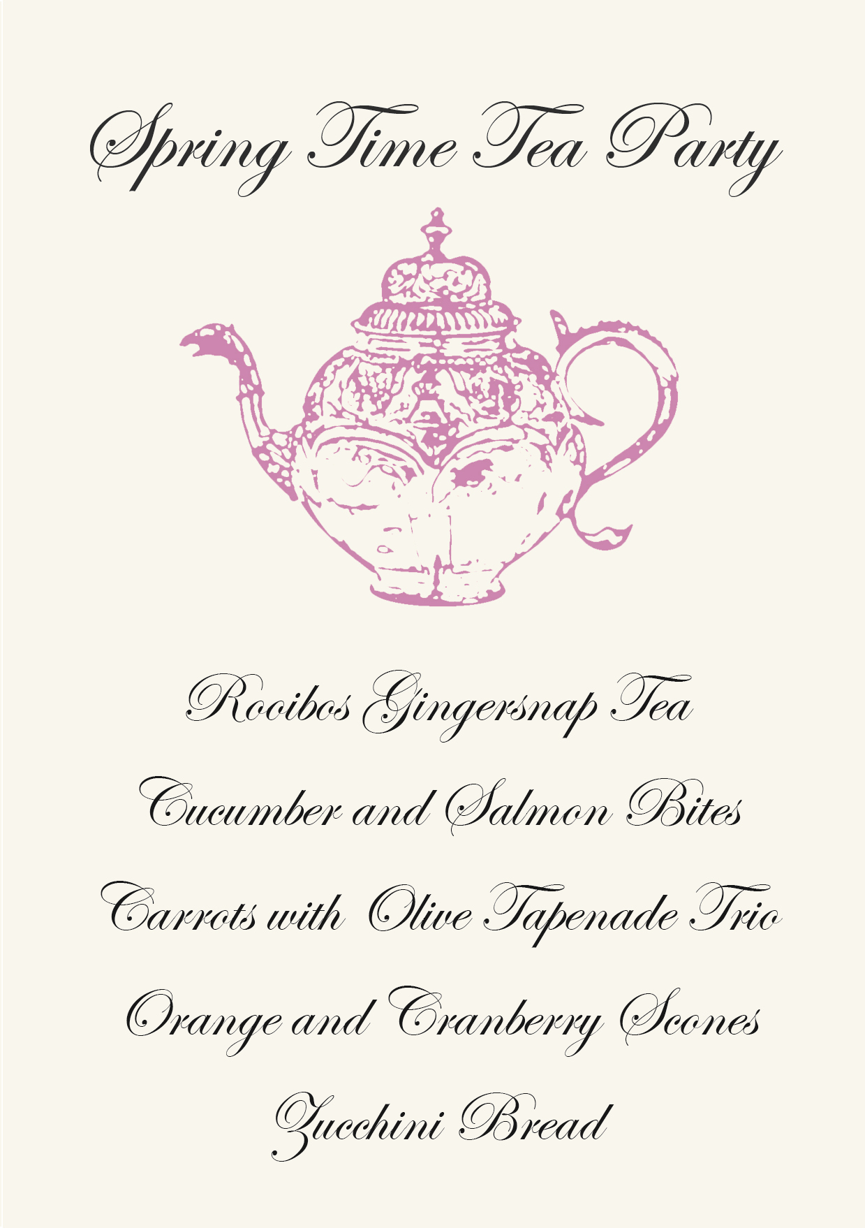 Gather menus primal palate paleo recipes for Tea party menu template