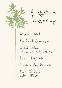 Gather Menu - A night in Tuscany