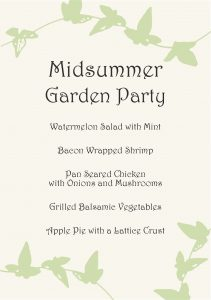 Gather Menu - Midsummer Garden Party