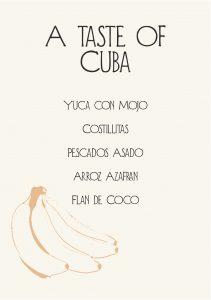 Gather Menu - a taste of Cuba