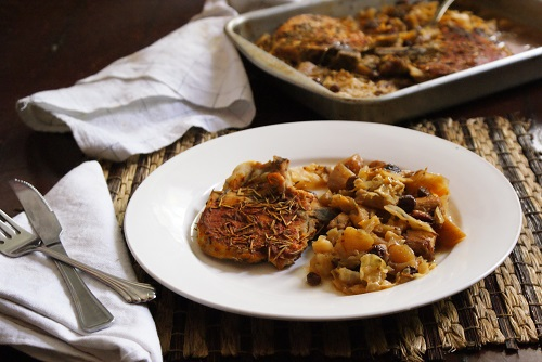 Rosemary Pork Chops Braised in Sweet Apple Cabbage Salad Recipe