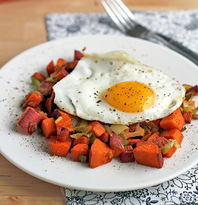 Sweet Potato and Leek Hash with Fried Eggs Recipe