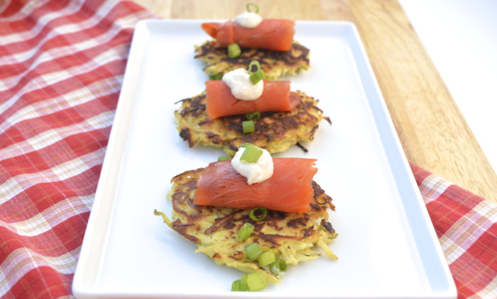Parsnip-Apple Latkes with Smoked Salmon Recipe