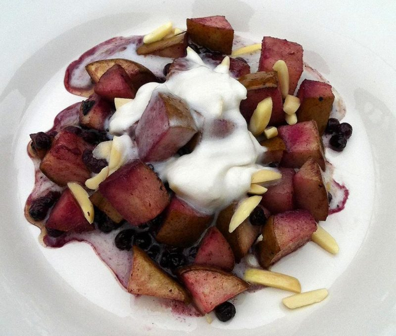Baked Blueberries and Pears With Coconut Whipped Cream Recipe