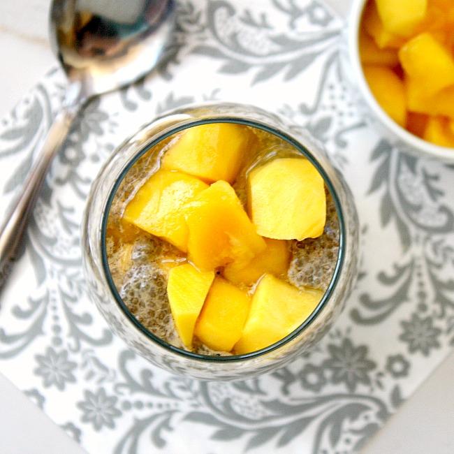 Vanilla and mango chia pudding
