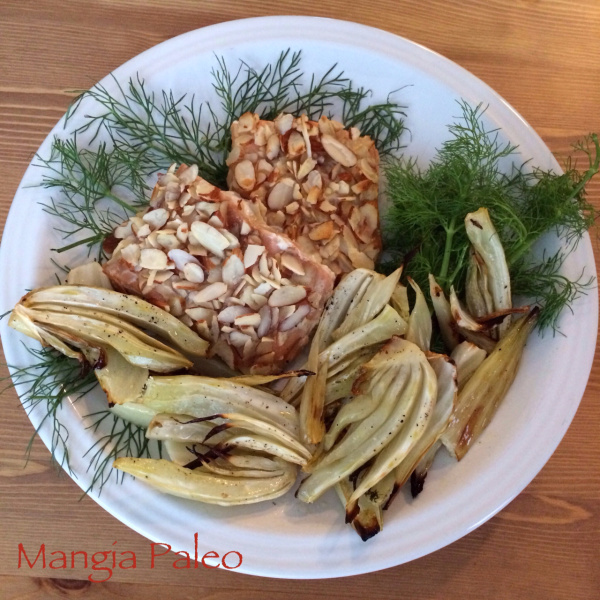 Honey Almond Salmon with Roasted Fennel Recipe