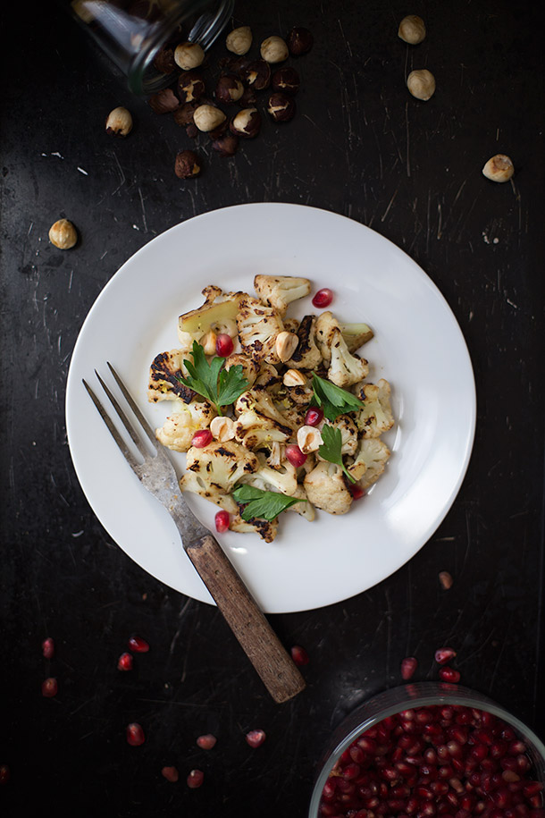 Cauliflower with Hazelnuts and pomegranate