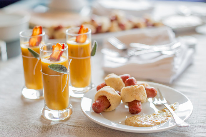 bacon soup shooters with paleo pigs in a blanket