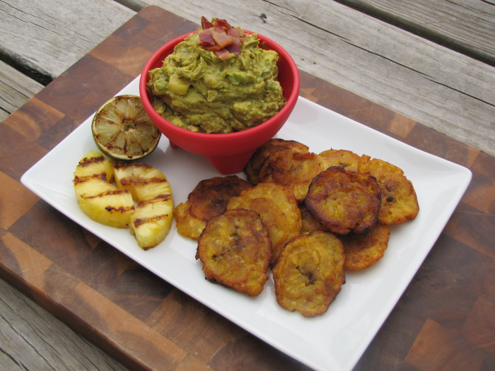 Pineapple Bacon Guacamole with tostones