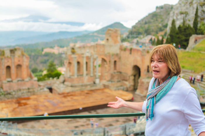 Marianne teaching us in Taormina