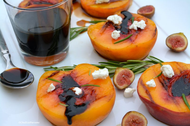 Grilled Balsamic Rosemary Peaches with Creamy Goat Cheese Recipe