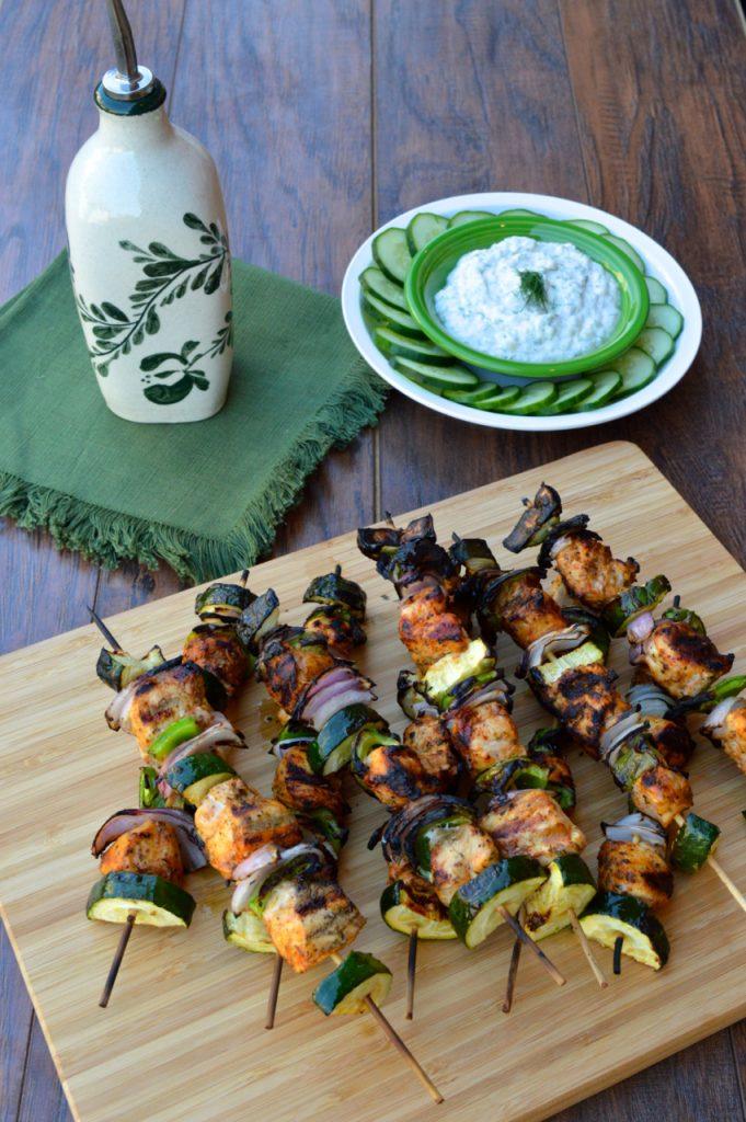Gyro Chicken Kabobs + Tzatziki Sauce Recipe