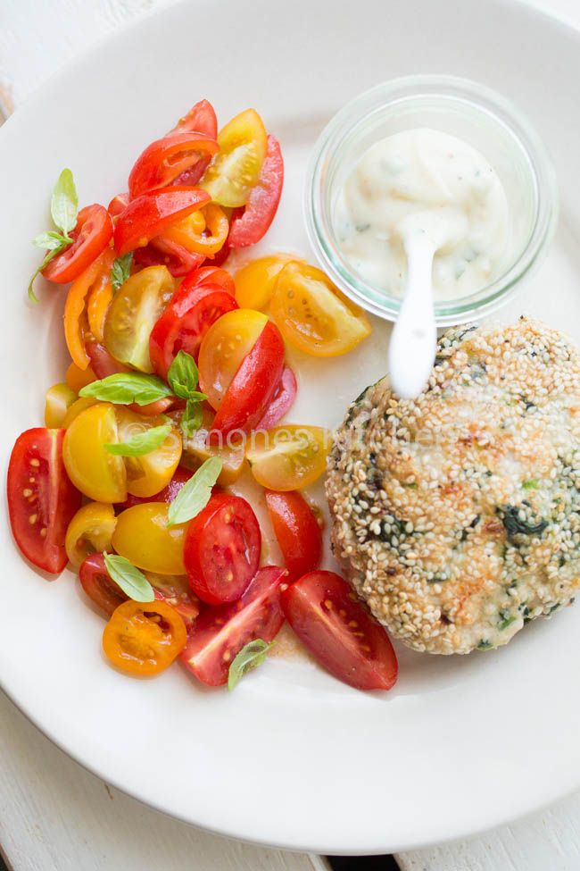 Chicken burger with tomato salad Recipe