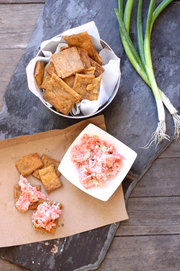 Plantain crackers and salmon spread