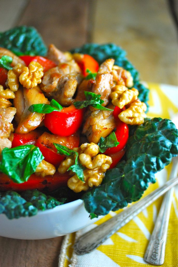 Chicken Basil Stir Fry with Walnuts and Kale - Primal Palate | Paleo ...