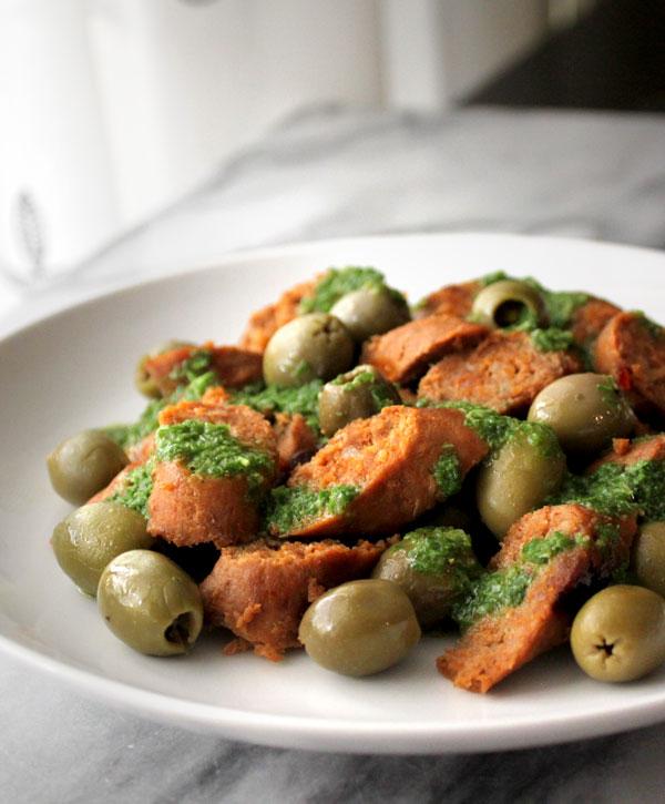 Chorizo with Chimichurri and Olives Recipe