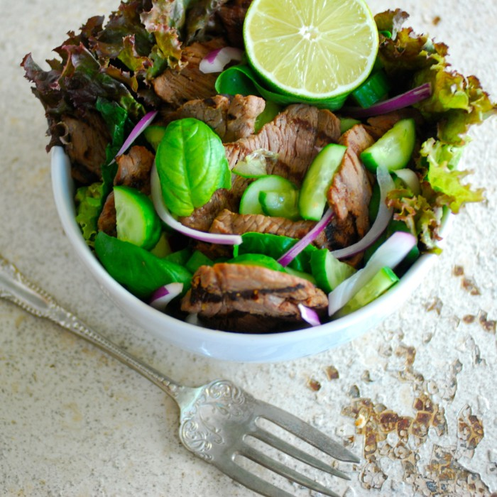 Grilled Sirloin Salad with Fresh Herbs and Thai Dressing - Primal ...