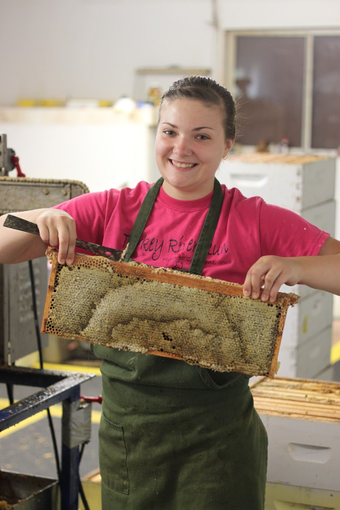 scraping off wax for honey