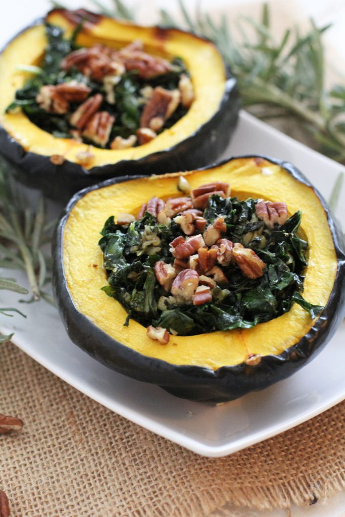 Garlic and Kale Acorn Squash Recipe