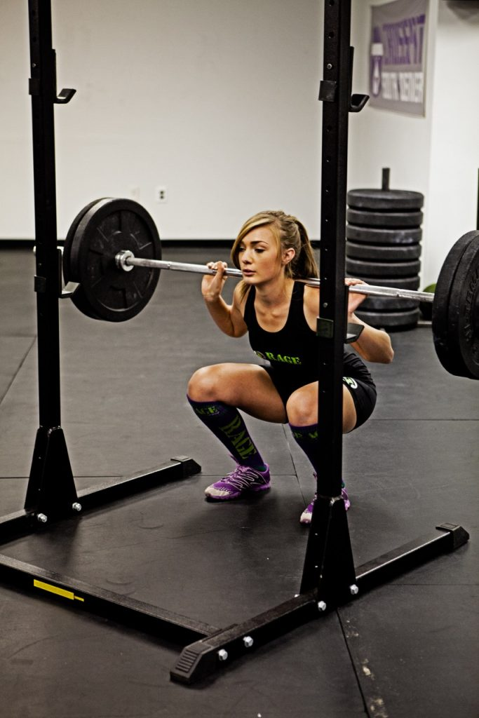 Shelby squatting in crossfit