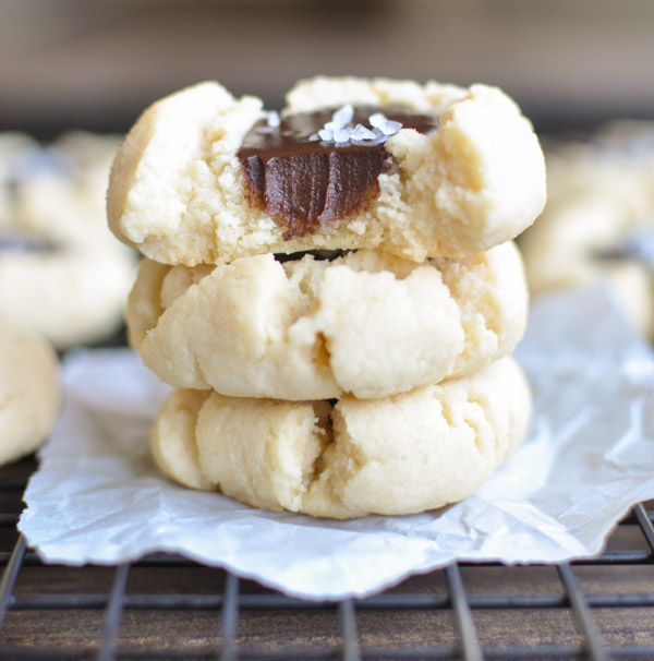 Salted Dark Chocolate Thumbprint Cookies