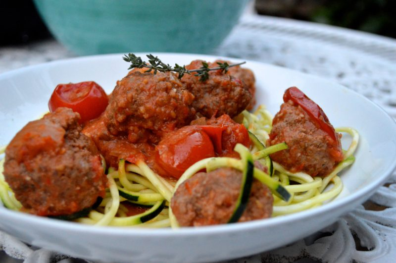 Meatball Bolognese with Zucchini Noodles Recipe