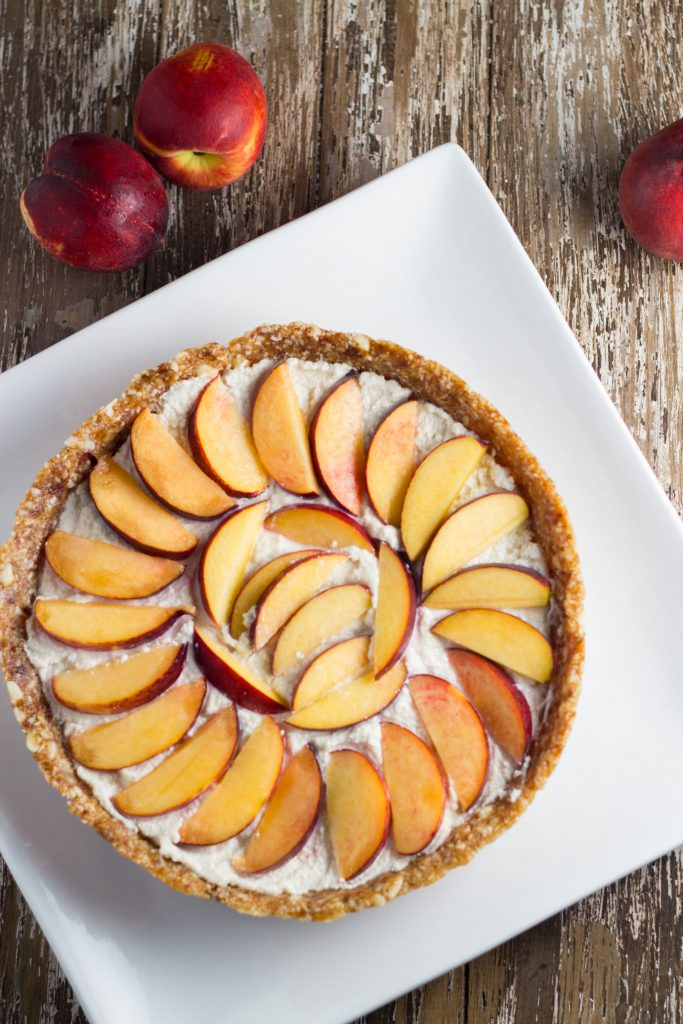 Raw Peach & Macadamia Cream Tart Recipe