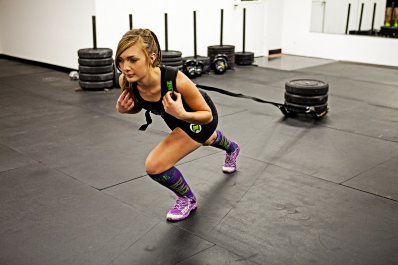 Shelby doing sled pulls