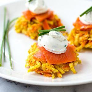 Carrot and Sweet potato Latkes with Salmon