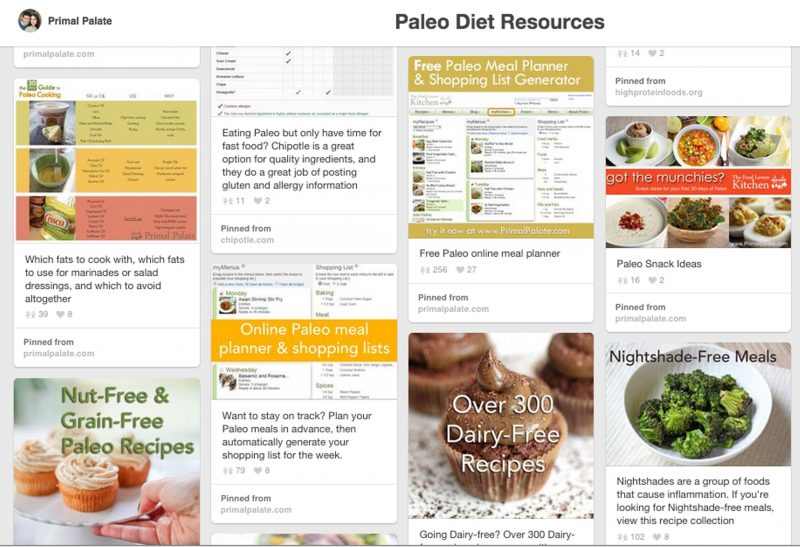 Paleo Diet resources pin board