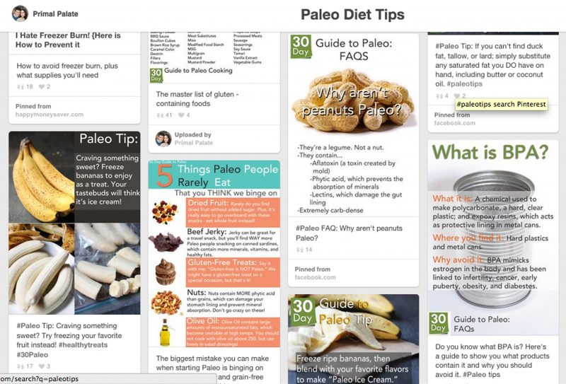 Paleo diet tips pin board