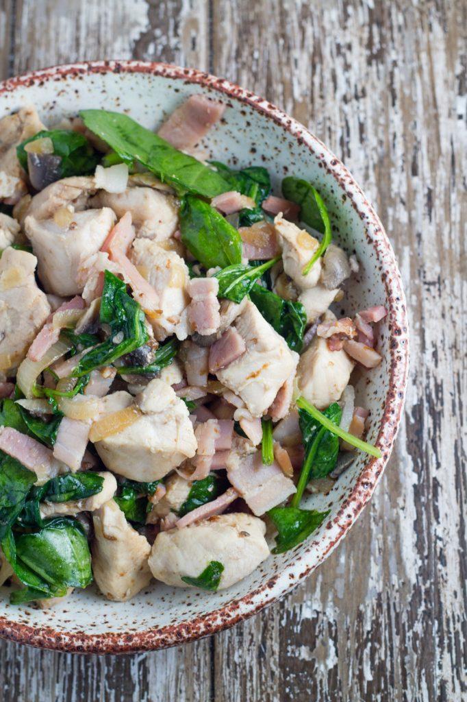 Warm Spinach Salad with Chicken, Bacon & Mushroom Recipe