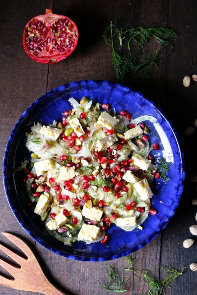 Shaved Fennel Salad with Feta Pomegranate Pistachios and Sesame Lemon Dressing Recipe